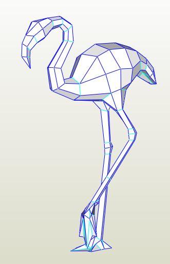 Паперкрафт модель 3D фламинго