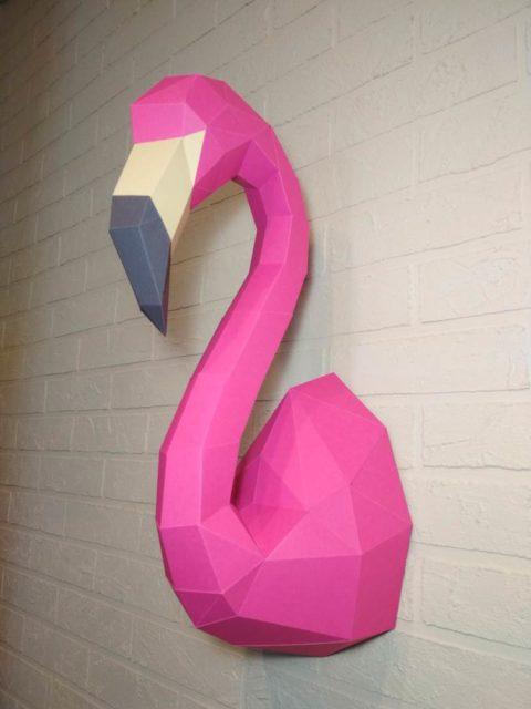 Фламинго паперкрафт 3д