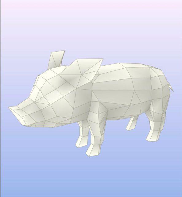Свинья паперкрафт