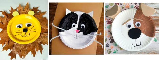 Животные из бумажных тарелок