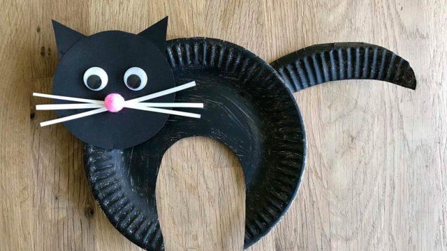 Котик из бумажной тарелки
