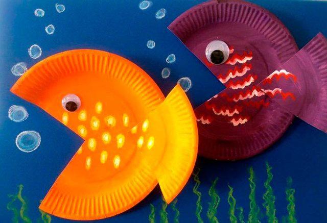 Рыбки из бумажных тарелок