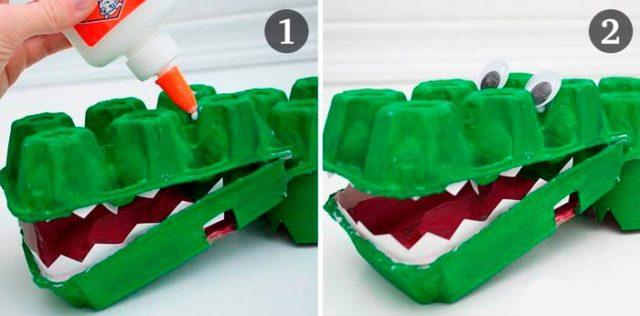 Создание крокодила из ячеек от яиц