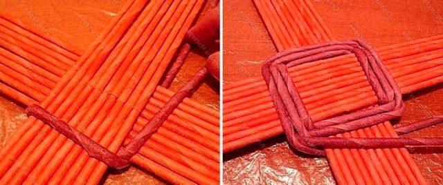 Плетение дна газетными трубочками