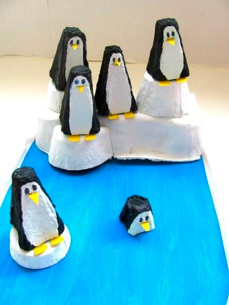 Пингвины на льдине, детская поделка своими руками