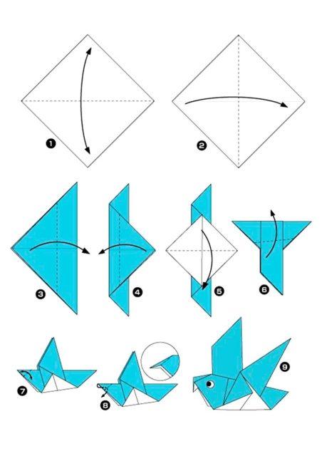 Схема оригами птицы