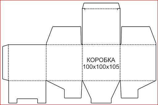 Шаблон, схема картонной коробки
