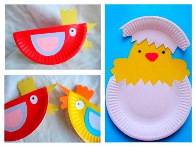 Птицы из бумажных тарелок