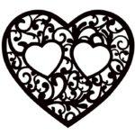 Шаблон сердечка для вырезания и раскрашивания