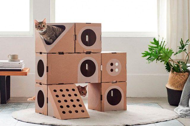 Домик для кошек из картонной коробки