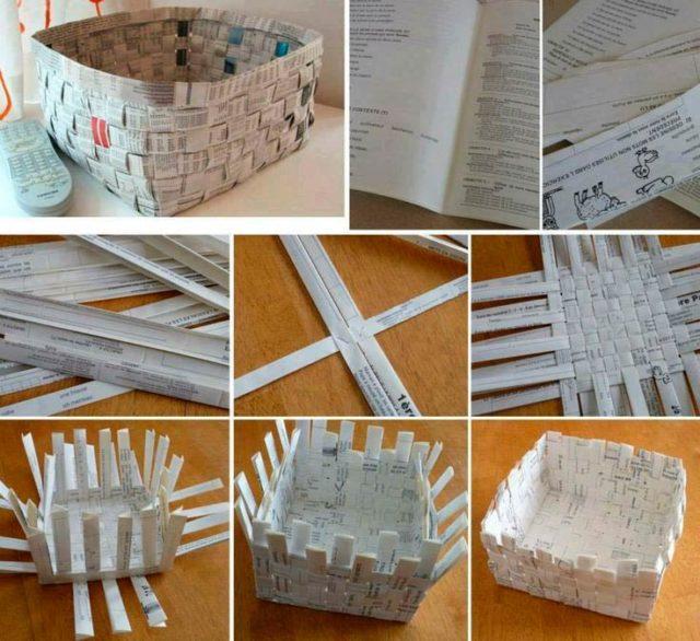 Схема плетения корзинки из газет
