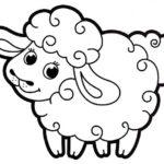 Шаблон овечки для вырезания или раскрашивания