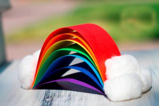 Объемная радуга из цветной бумаги