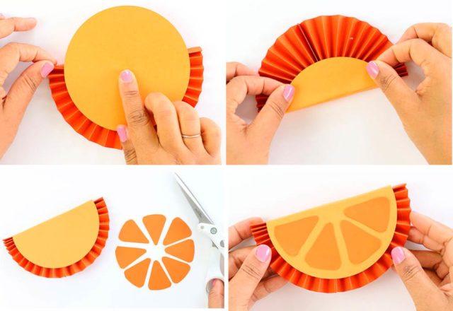 Сборка дольки апельсина из бумаги
