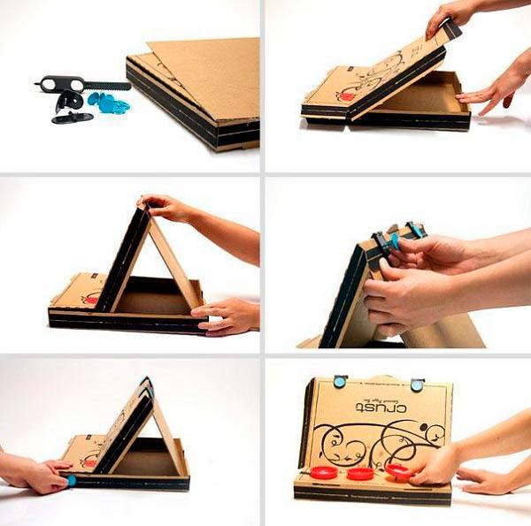 Мольберт для рисования из коробки от пиццы