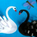 Лебеди из бумажных лент