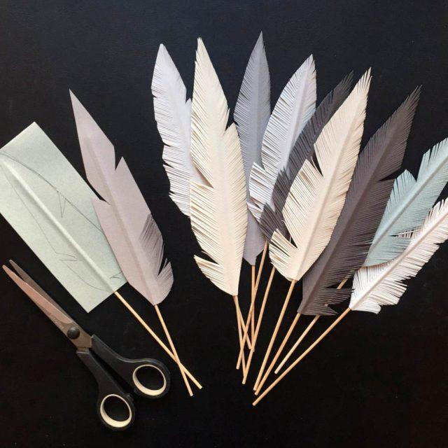 Бумажные перья сделанные своими руками