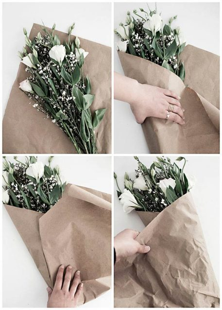Упаковка цветов в бумажный кулек