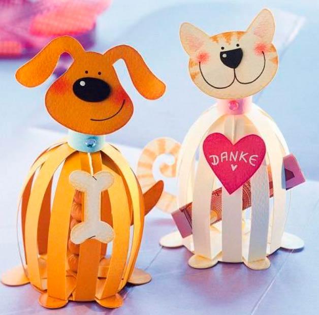 Собака и кошка из бумажных полосок