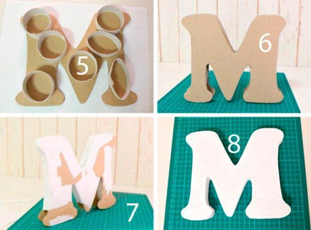 Сборка объемной буквы из бумаги и картона своими руками