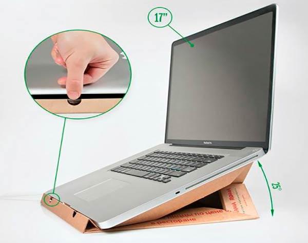 Подставка под ноутбук из коробки от пиццы