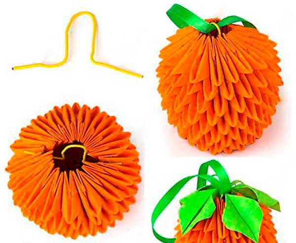 Бумажный апельсин: модульное оригами