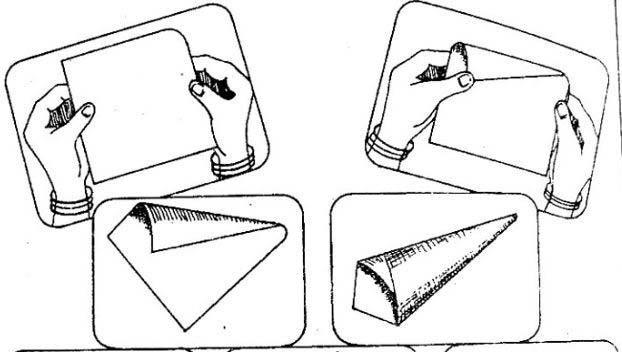 Как сворачивать кулек из бумаги, простая схема