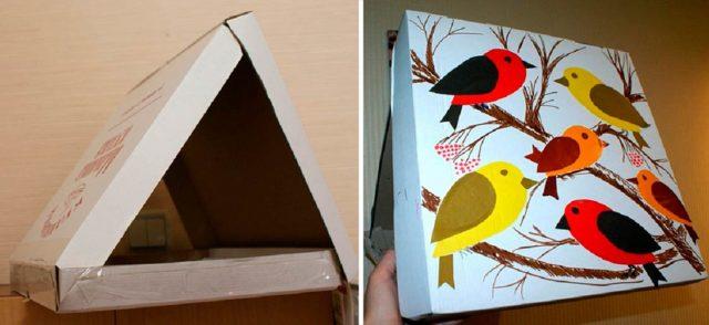 Кормушка для птиц из коробки от пиццы