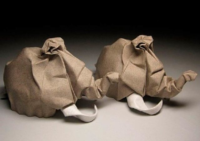 Мамонты в технике мокрого оригами