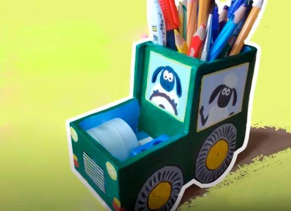 Бумажная карандашница, органайзер для канцелярии