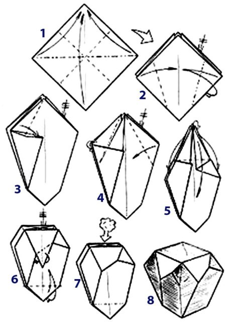 Коробочка оригами, схема