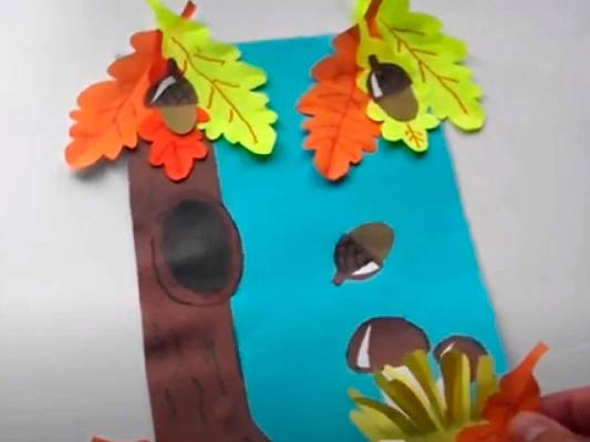 Аппликация дуб и листья