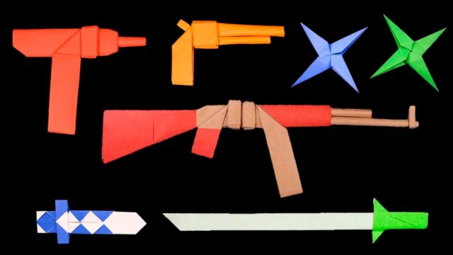 Оружие оригами из бумаги