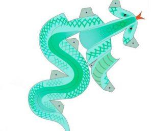 Развертка/шаблон змеи для вырезания и склеивания