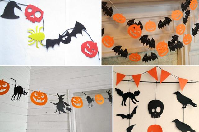 Гирлянда на хэллоуин из бумаги