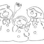 Шаблон вытынанки снеговик