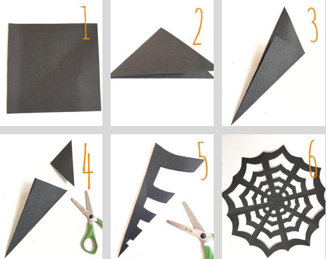 Схема как сделать паутинку на хэллоуин
